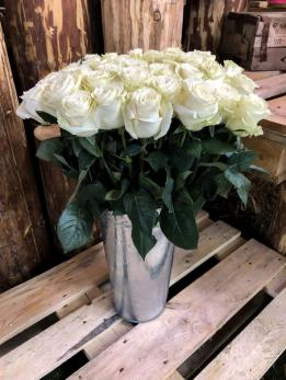 Роза Белая 70см до 25шт Эквадор